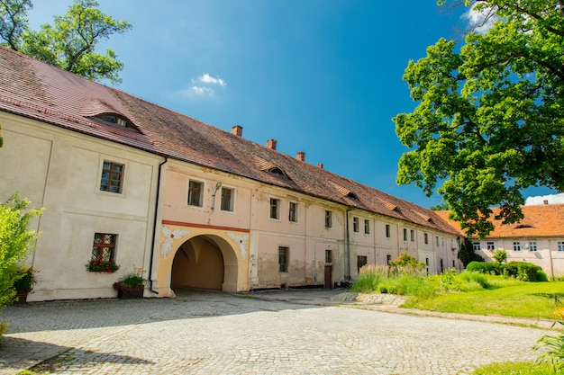 View on old houses in henrykow abbey in lower silesia, poland