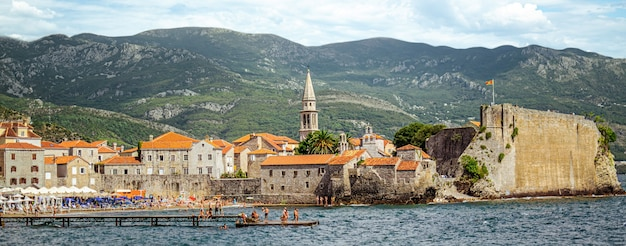 View of the old town of budva. montenegro. panorama.