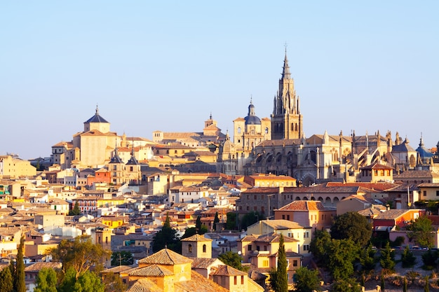 View of old town and cathedral. toledo