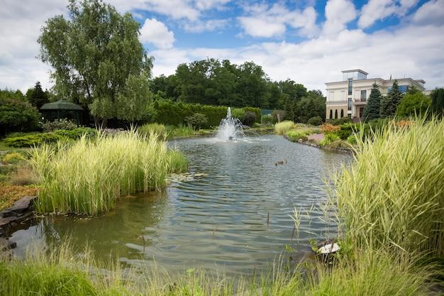 Вид на красивый фонтан у пруда в ботаническом саду