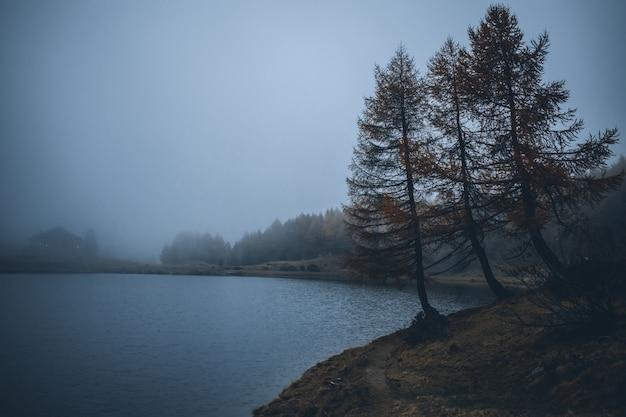 山の霧の湖モルティローロの眺め