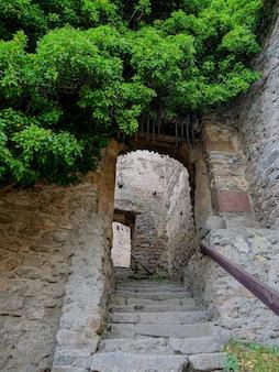 Вид на руины средневекового замка в нижней силезии, польша