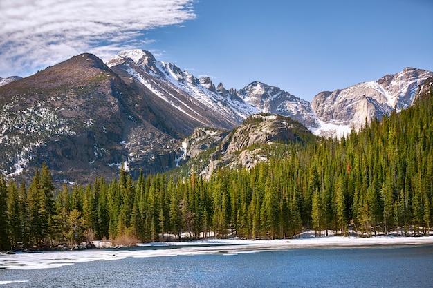 米国コロラド州ロッキーマウンテン国立公園のベアー湖からの山の眺め