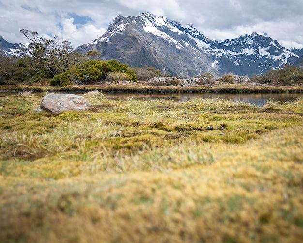 마른 풀과 작은 폰드루트번 트뉴질랜드가 있는 구름으로 덮인 산봉우리의 전망