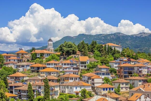 북부 마케도니아 발칸 반도의 오흐리드 구시가지에서 보기