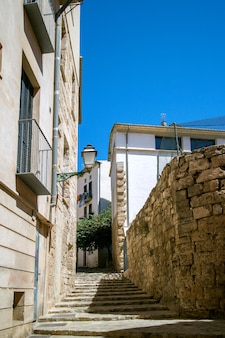 많은 고대 주택과 건물이 대표되는 팔마 데 마요르카 거리에서보기