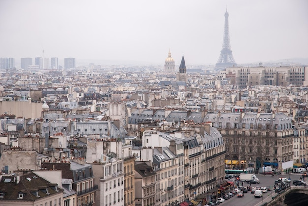Вид на париж из собора нотр-дам