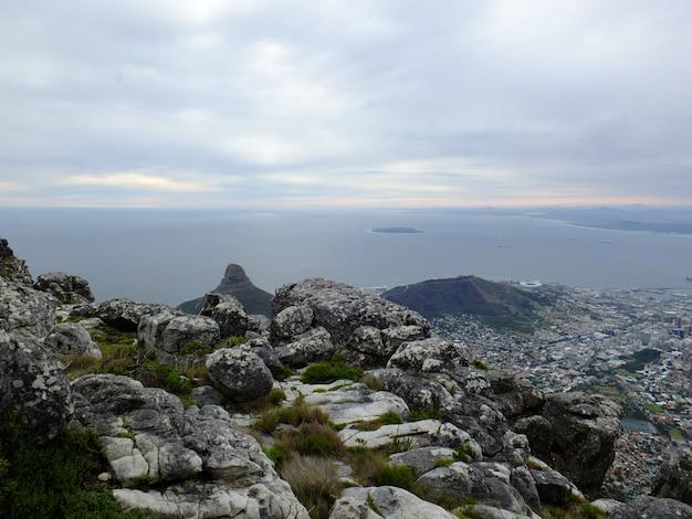 테이블 마운틴, 케이프 타운, 남아프리카 공화국 위에보기