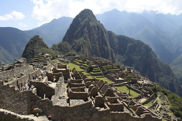 View of one of the wonders of the world, machu picchu, peru