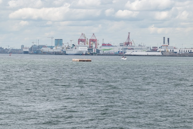 View oof dublin port from poolbeg walk site .