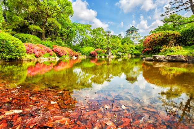 View on osaka castle from the garden