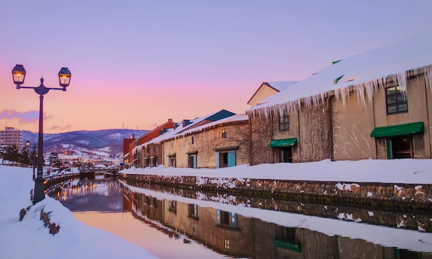 View of otaru canel in winter season with sunset, hokkaido - japan.