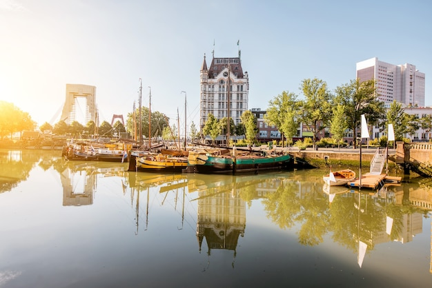 View on the oude haven historical centre of rotterdam city during the sunny weather