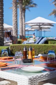 View of outdoor restaurant on resort