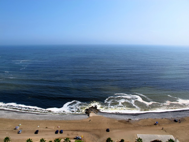 The view on pacific ocean from the coastline miraflores, lima, peru, south america