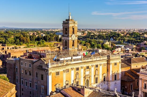 View of palazzo senatorio on the capitoline hill in rome