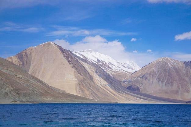View of pangong lake in leh, ladakh region, india