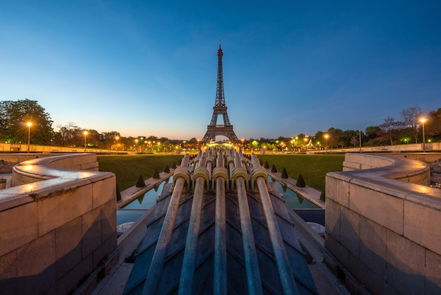 View of paris and eiffel tower before sunrise in paris, france.