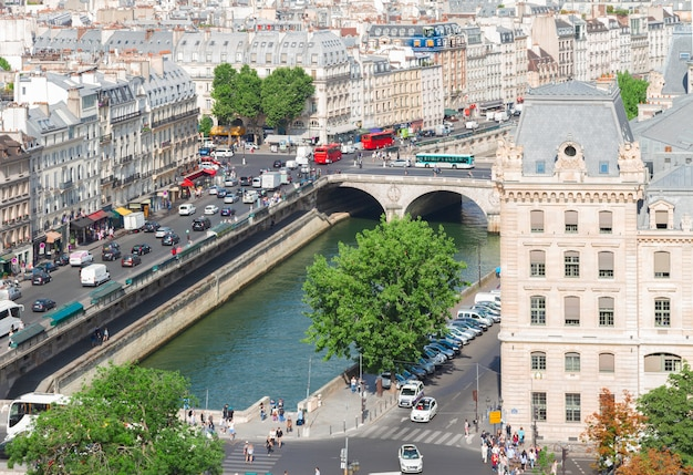 View of paris old town and seine river at sunny summer day, france