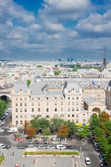 View of paris old town  at sunny summer day, france
