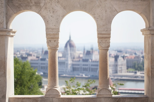 A view of the parliament building. historical center of tourism. hungary. budapest