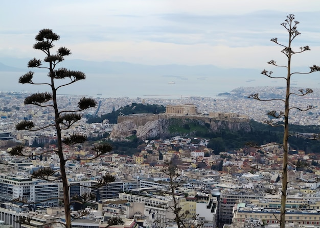 View of parthenon and athens