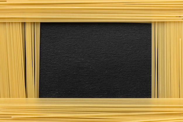 Above view pasta frame arrangement