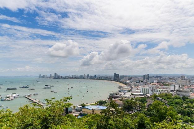 View of pattaya bay viewpoint from pratumnak hill.