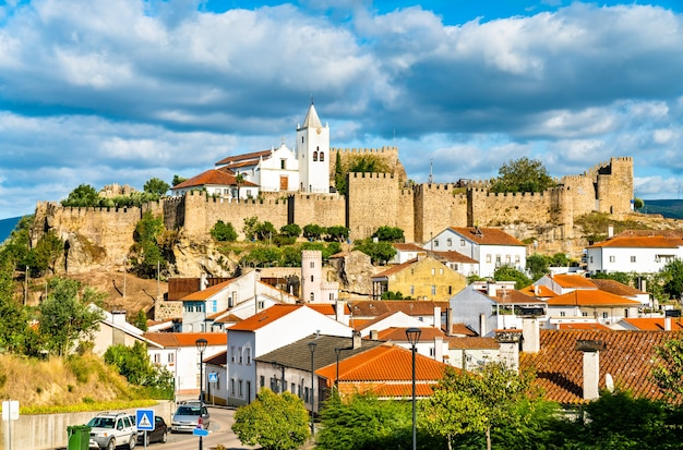 View of penela with its castle and church. portugal