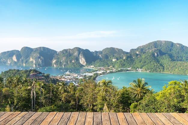 View on phi phi island viewpoint that saw whole island in front of the tamarind leaves, overlooking the mountains and the beautiful sea