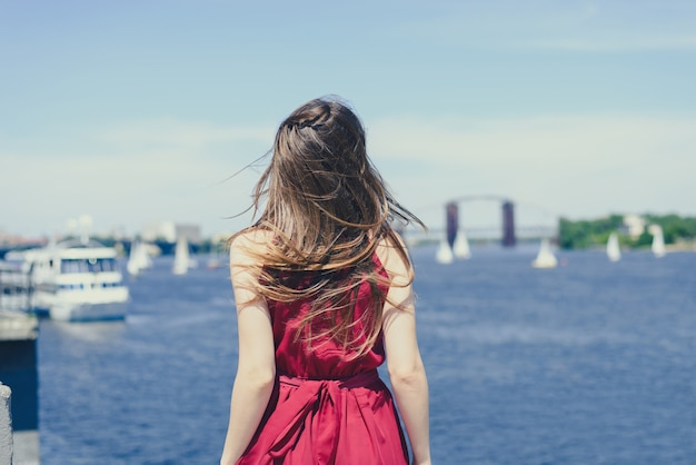 Behind view photo of girl in red dress looking at nature