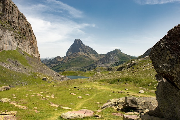 View of the pic du midi d'ossau in the french pyrenees