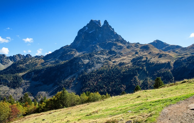 View of pic du midi ossau, autumn  france, pyrenees