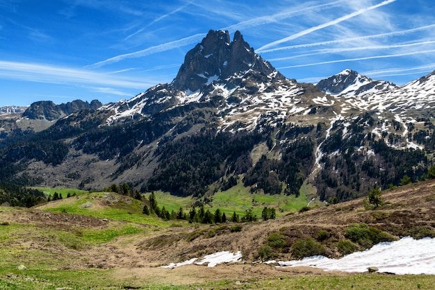 View of pic du midi ossau in springtime, french pyrenees