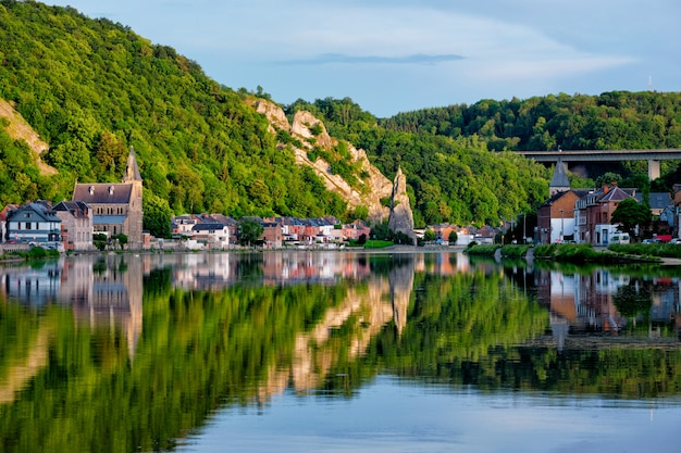 View of picturesque dinant city over the meuse river dinant is a walloon city and municipality located on the river meuse