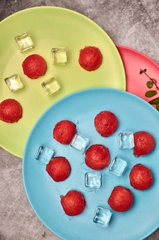 View of pieces of red and refreshing watermelon