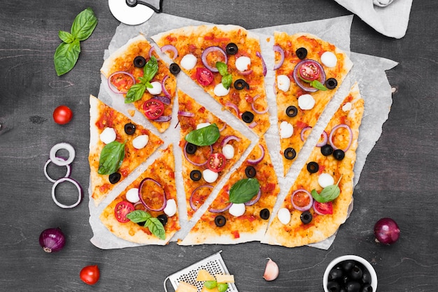 Above view pizza slices arrangement