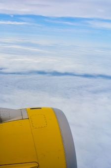 View of the plane turbine while flying.