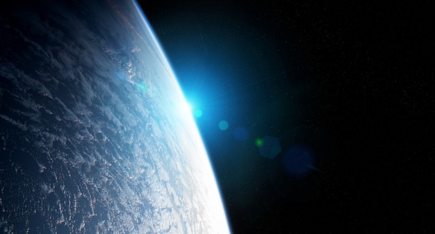 View of planet earth close up with atmosphere during a sunrise elements of this image furnished by nasa