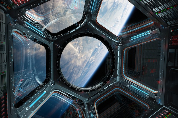 View of planet earth from a space station window 3d rendering
