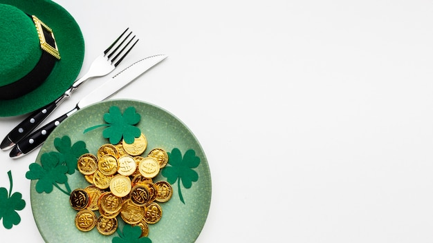 Above view plate and cutlery st patrick day
