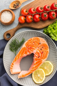 Above view plate with salmon and lemon