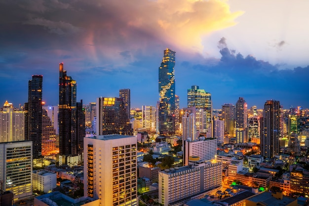 View point from hotel rooftop from bangkok city with bar and twin tower background, thailand