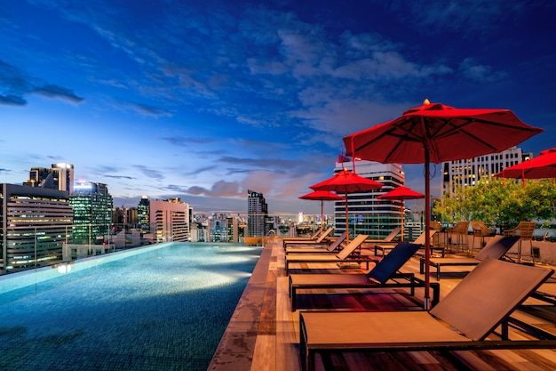 View point from rooftop of hotel in bangkok city with building and blue sky