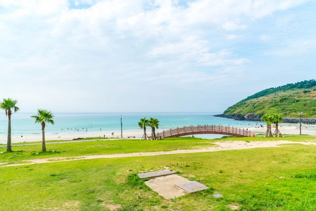 View point at hamdeok beach in jeju island.