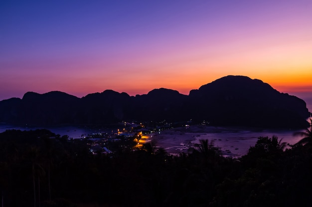 View point phi phi don in the evening and twilight at phi phi island  krabi, thailand