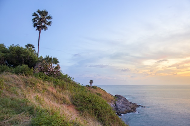View point, sunset at phrom thep cape or laem phrom thep is symbol phuket island, thailand.