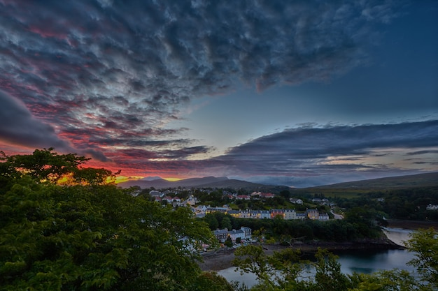 View on portree before sunset, scotland