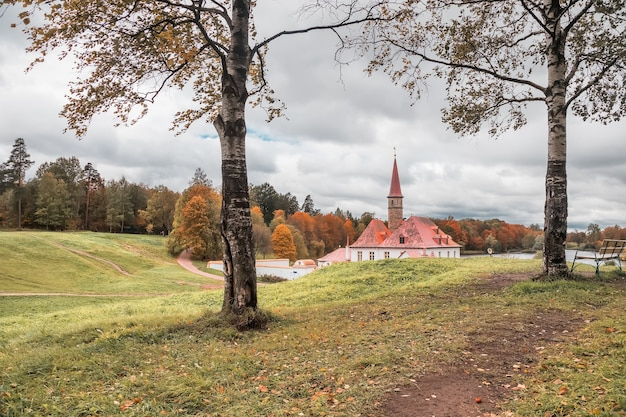 View of the priory palace on an autumn cloudy day gatchina st petersburg russia