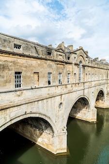 View of the pulteney bridge river avon in bath, england, united kingdom.